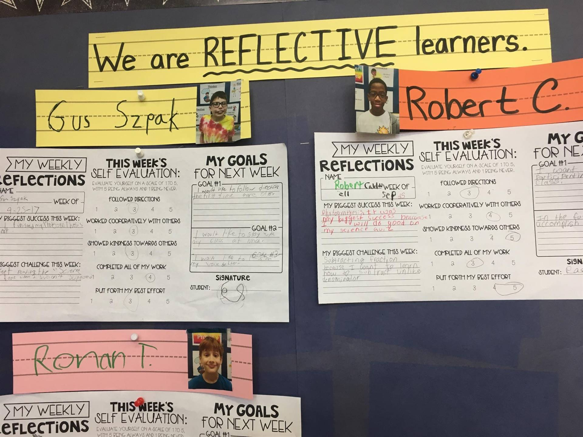 We are REFLECTIVE learners!