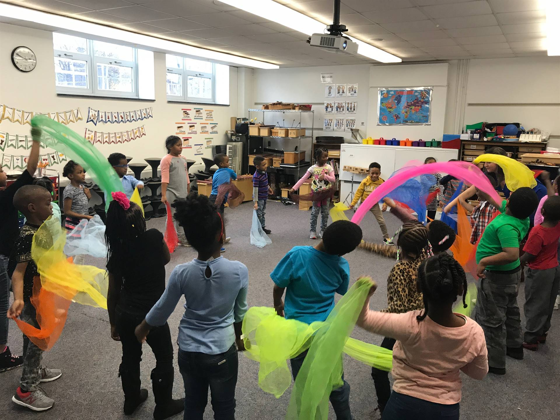 Scarf movement to music in 1st grade