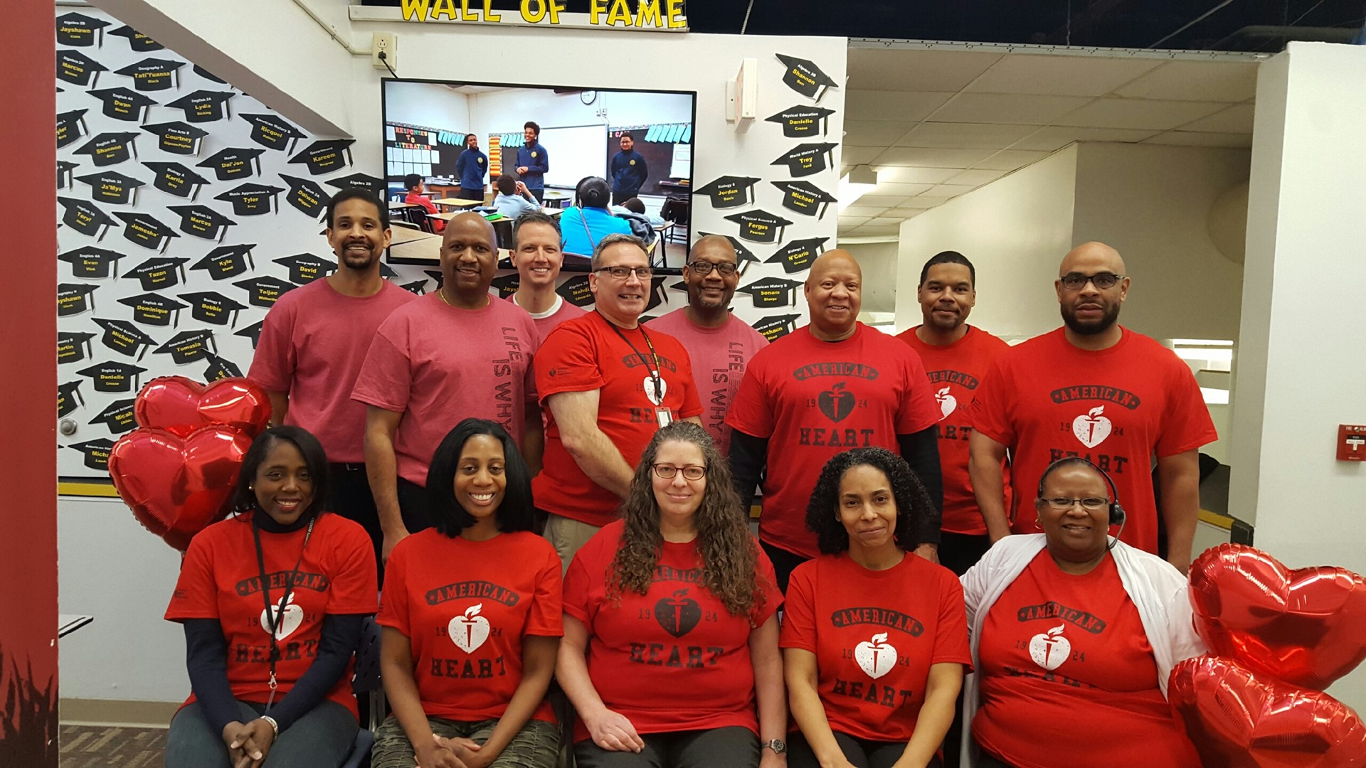 Staff members from the Delisle Educational Options Center support American Heart Association.