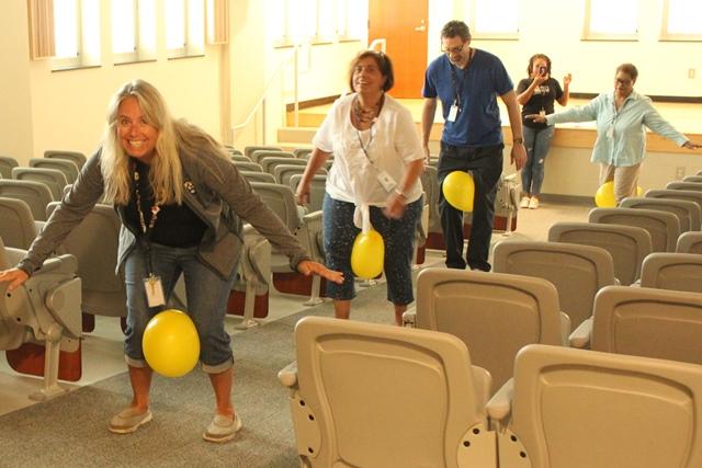 Transporting balloons in the Mini Auditorium