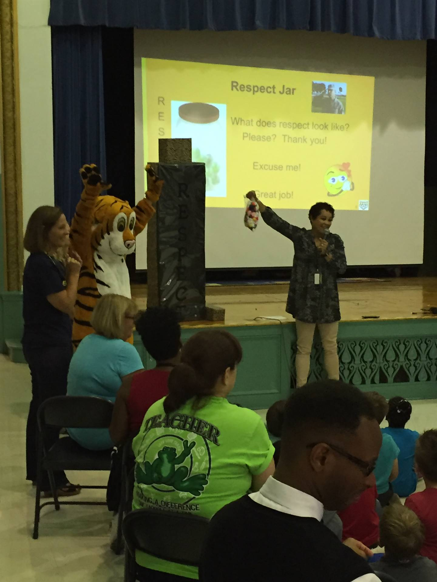 TJ, the CHUH Mascot, joins Respect Assembly