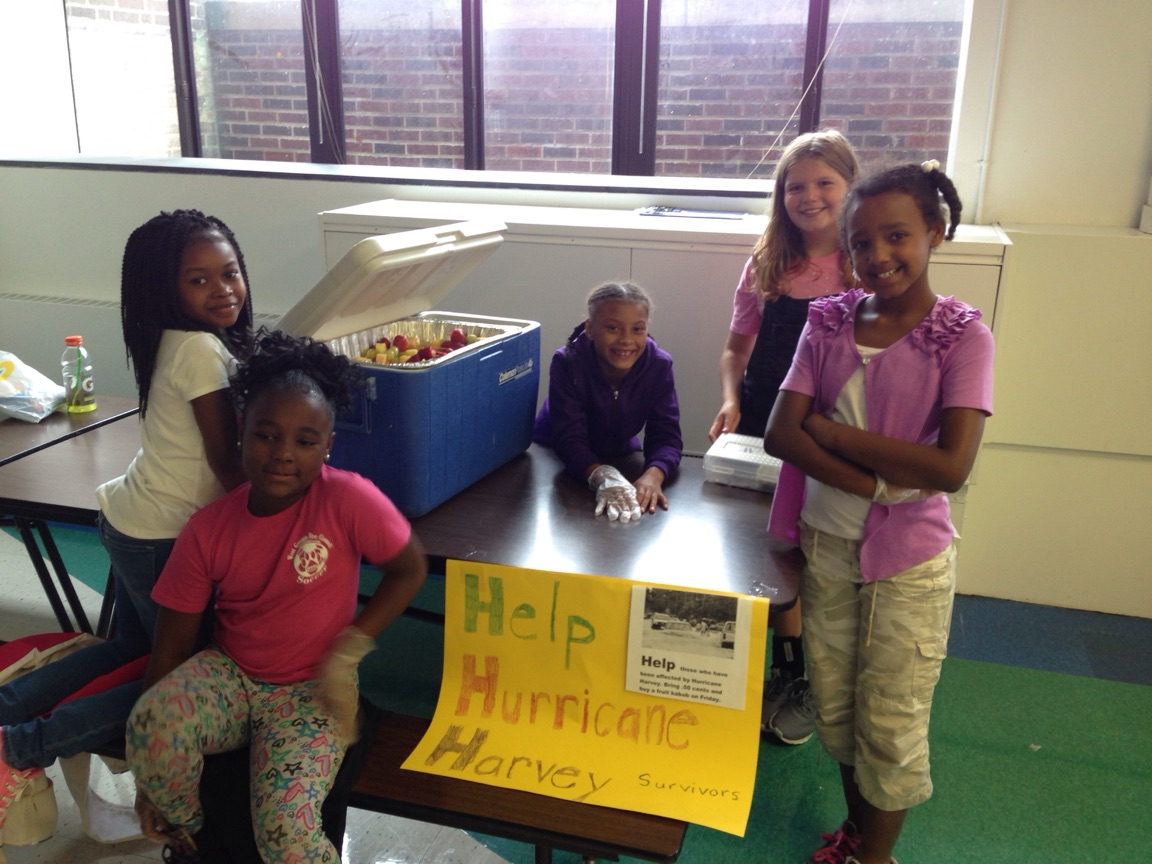 4th graders sold fruit kabobs & sent the proceeds to the Red Cross for Hurricane Harvey Relief.