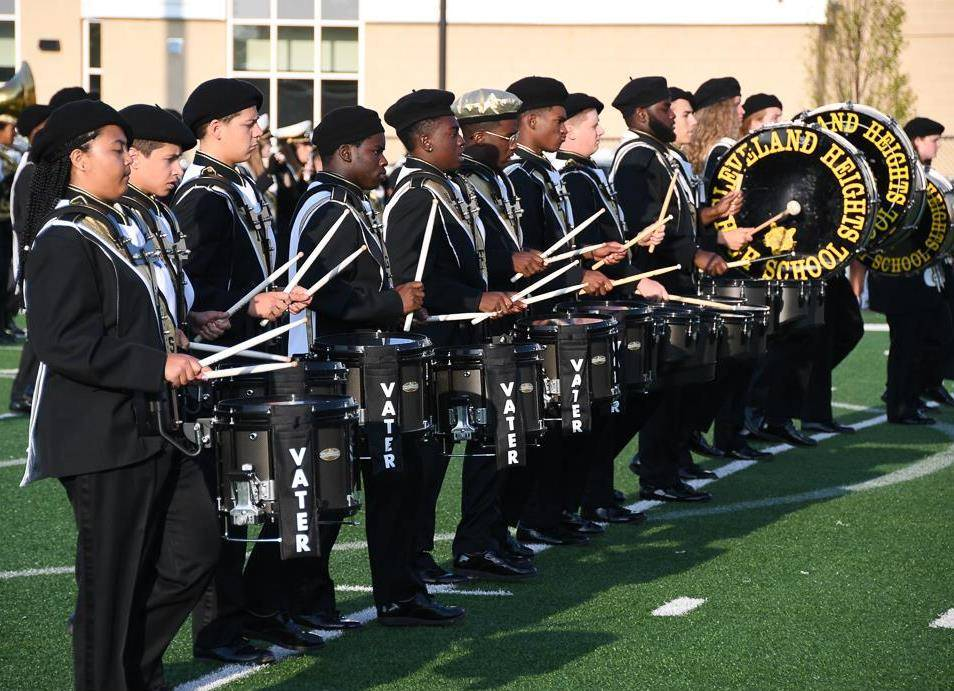 Heights High marching band drum line