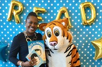 Superintendent Dr. Talisa Dixon and the Tiger at CH-UH Family Literacy Night