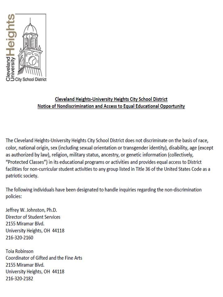 Non-discrimination letter
